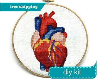 Anatomical Heart Cross Stitch Kit DIY, 8 Inches - Needlepoint Kit, Anatomical Embroidery, Heart Embroidery, Embroidery Kit