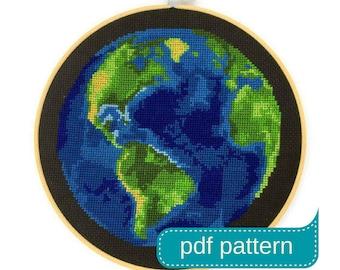 Earth Cross Stitch Pattern Download PDF - Counted Cross Stitch Pattern - PDF Pattern