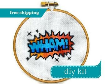 WHAM! Comic Book Design DIY Kit Cross Stitch - Comic Cross Stitch - Counted Cross Stitch - 5 Inches