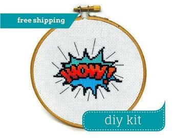 WOW! Comic Book Design DIY Kit Cross Stitch - Comic Cross Stitch - Counted Cross Stitch - 5 Inches