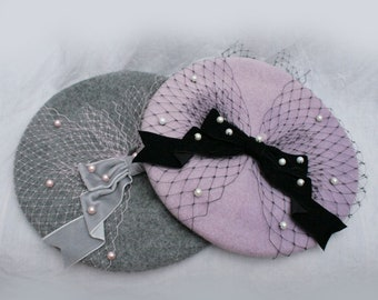 efcfeaf191eb5 PEARL RIBBON Net Bow BERET All Colours