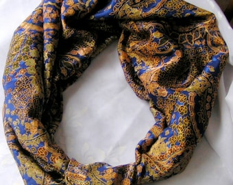 Floral Paisley Multicolor Infinity Scarf with a Knot