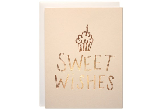 Sweet Wishes Birthday Card Rose Gold Foil Stamped On Blush