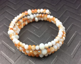 Game Day Burnt Orange and White Color Drenched Crystal Coil Bracelet