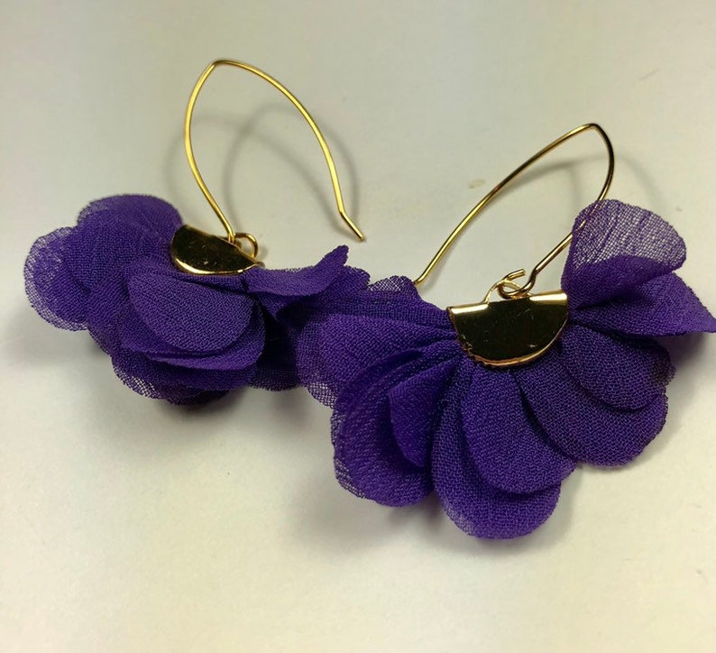Purple and Gold Scallop Fabric Flutter Earrings
