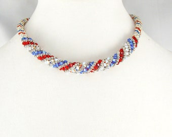 Red-White-Blue spiral sparkles necklace