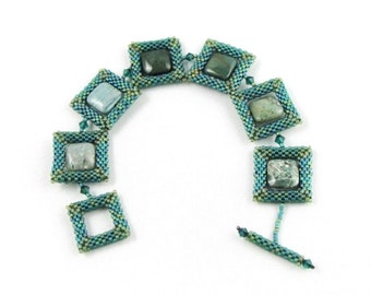 Green Agate square links