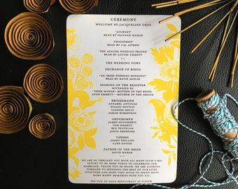 Menu  Parisian Flower Market Wedding Collection - Ceremony Card
