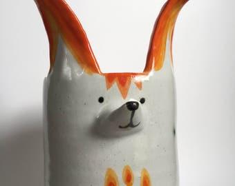 Tall Fox Vase