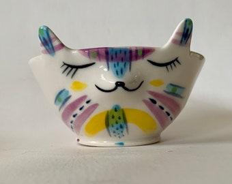 Handmade Porcelain Blue and Purple Animal Snack Bowl