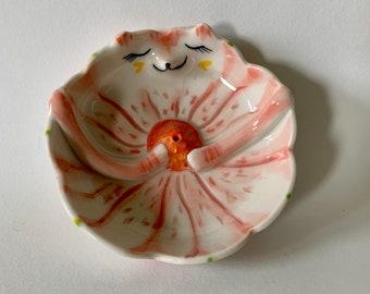 Handmade Porcelain Pink Fox Incense Holder