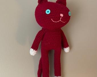 Handmade Red Crochet Amigurumi Cat