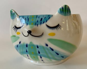 Handmade Porcelain Blue Bear Yarn Bowl