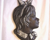 Vintage Girl Silhouette Black and White Ceramic Wall Art Plaque