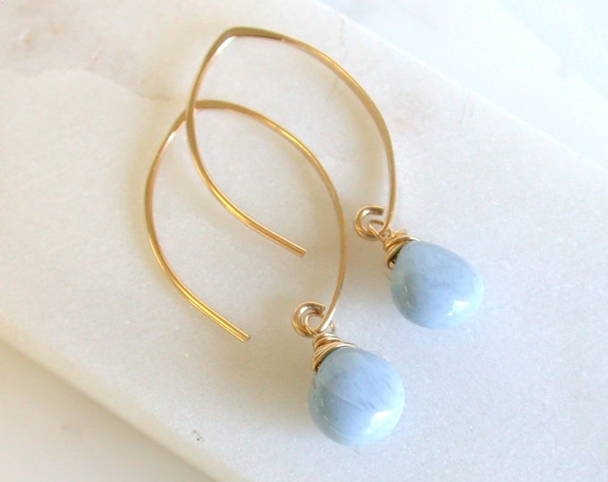 Blue Opal Earrings. Gold Opal Earrings. Opal Gemstone Earrings.