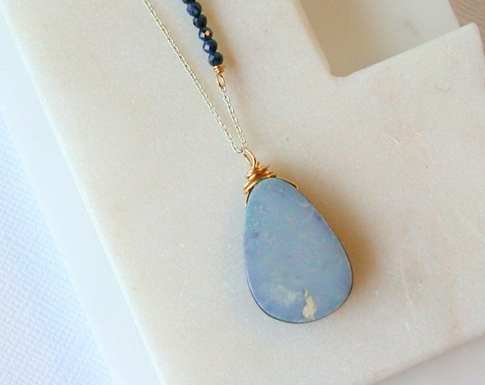 Rare Wood Opal Pendant. Sapphire and Opal Necklace. Gemstone Necklace. Petrified Wood Necklace.