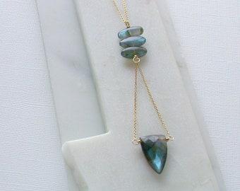 Labradorite Shield Necklace. Blue Flash Labradorite Necklace. Modern Necklace. Gemstone Necklace.