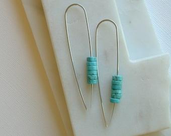 Turquoise Wheel Threaders. Turquoise Threader Earrings. Turquoise Gemstone Threader Earrings.