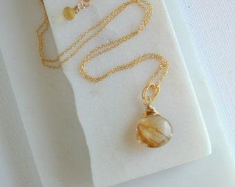 Sun Streaked Pendant Necklace. Rutilated Quartz Pendant. Gold Rutilated Pendant. Rutilated Quartz Necklace. Minimalist Necklace.