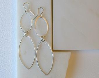 Modern Leaf Earrings. Bold Leaf Earrings. Sterling Silver Leaf Earrings. Earring Gift for Mom. Earring Gift for Girlfriends.