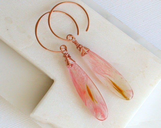 Polished Strawberry Quartz Teardrop Earrings