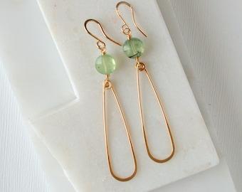 Prehnite Slender Teardrop Earrings.  Gemstone Teardrop Earrings. Minimalist Gemstone Earrings.