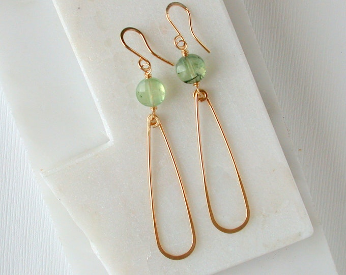 Prehnite Slender Teardrop Earrings.  Gemstone Teardrop Earrings. Minimalist Gemstone Earrings.