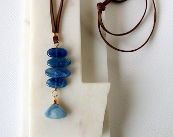 Kyanite Stack and Blue Opal Pendant. Polished Rock Pendant. Boho Pendant. Leather and Stone Necklace. Blue Kyanite Necklace.