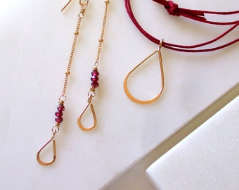 Red Silk Cord Necklace and Earring Set