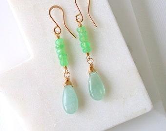 Verdi Stack. Aquamarine and Chrysoprase Stack Earrings. Springtime Earrings. Aquamarine Gemstone Earrings. Gemstone Dangle Earrings.