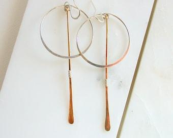 Boulder Dash Earrings. Circle and Line Earrings. Hanging Hoop Earrings Modern Hoop Earrings Minimalist Sterling Earrings Mixed Metal Earring