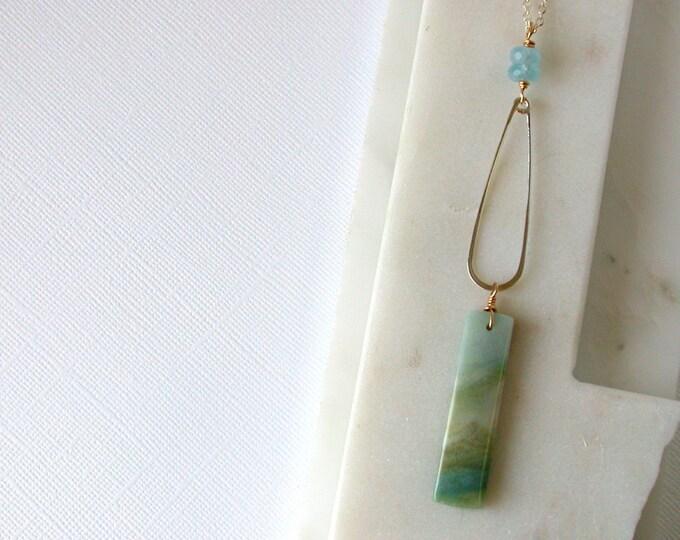 Aquamarine and Mountain Jade Statement Necklace.