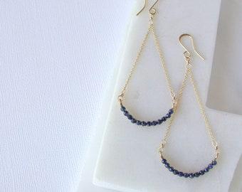 Blue Sapphire Smile Earrings. Sapphire Chandelier Earrings. Blue Sapphire Earrings. Deco Gemstone Earrings Gemstone Chandelier Earrings