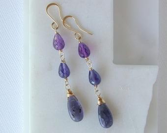 Cool Hues Linear Earrings. Iolite and Amethyst Earrings. Iolite Gemstone Earrings. Amethyst Gemstone Earrings. Linear Modern Earrings.