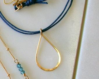 Teardrop on Silk Necklace