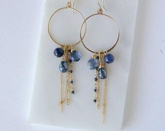 Mystic Kyanite and Sapphire Asbury Hoops. Blue Gemstone Cluster Hoop Earrings. Large Hoop Earrings with Stones. Blue Sapphire Hoop Earrings