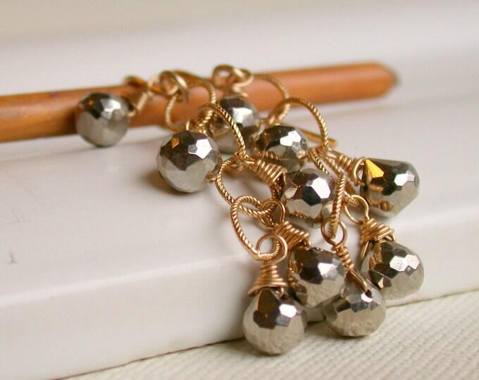 SALE! FREE Shipping.  Pyrite Cascade Dangle Earrings. Wire wrapped Pyrite Earrings.  Artisan. Pyrite. Jewelry.