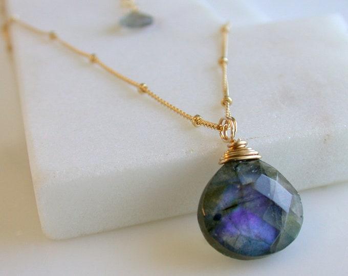 NEW DAY SALE! Labradorite Necklace Labradorite Pendant Gemstone Necklace Blue Flash Labradorite Gifts for Her