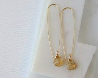 Sun Streaked Threader Earrings. Gold Rutilated Quartz Earrings. Gemstone Threader Earrings. Sunshine Earrings. Jewelry Gifts for Mom.