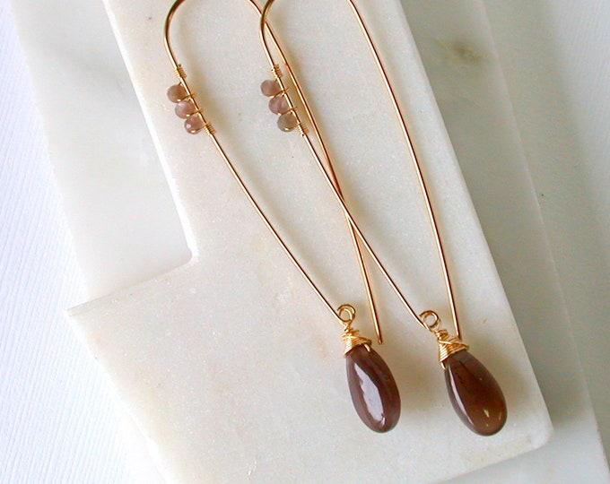 Slender Chocolate Moonstone Threaders