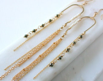 Balancing Act. Pyrite and Pearl Statement Earrings.. Long Pearl Earrings. Long Sexy Earrings. Long Modern Earrings.
