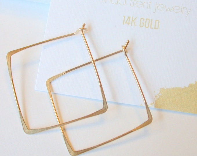 14K Gold Square Hoops