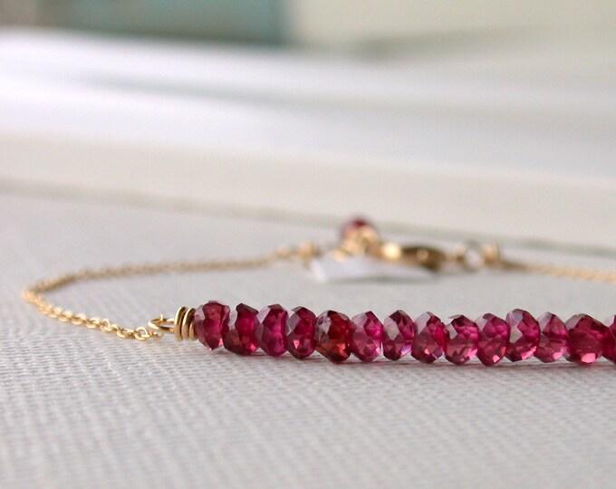 Garnet Bar Bracelet