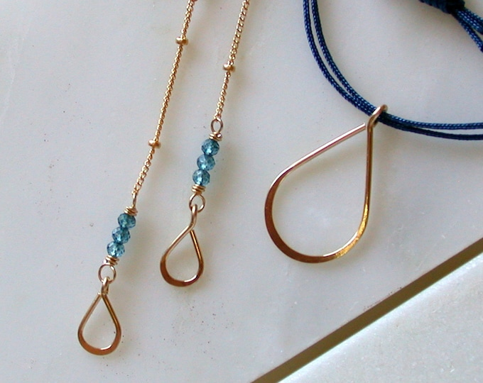 Blue Silk Cord Necklace and Earring Set
