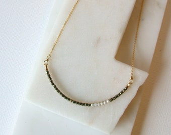 Pyrite and Pearl Curving Bar Necklace.  Wire Wrapped Gemstone Necklace.