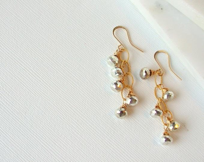 Pyrite Cascade Dangle Earrings Pyrite Earrings Cascade Pyrite Earrings Gemstone Earrings