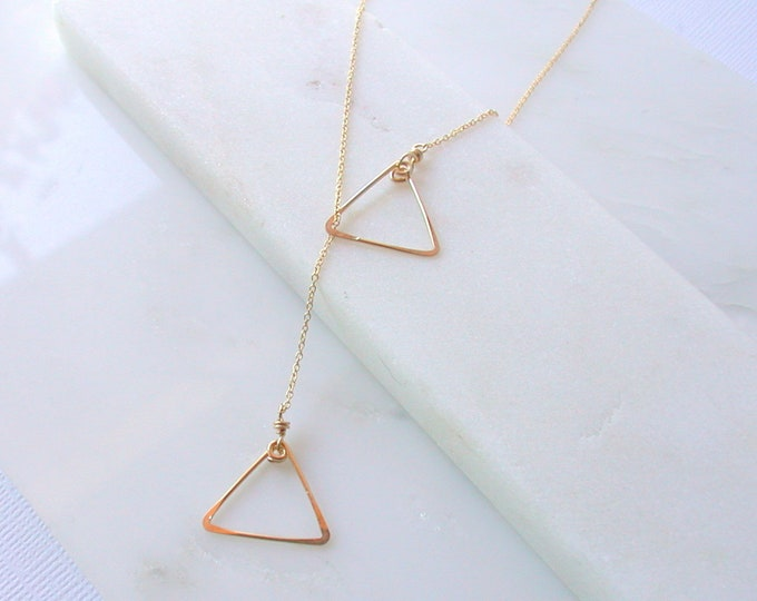 SALE. Delicate 14K Gold Y Necklace