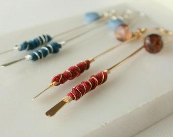 Rags to Riches Gemstone Bar Earring. Silk Wrapped Bar Earrings. Modern Statement Earrings. Boho Bar Earrings. Boho Gemstone Earrings