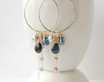 Midnight Haight Asbury Hoops / Statement Earrings Gemstone Earrings Boho Earrings  / Labradorite Earrings Cascade Earrings  Boho Jewelry