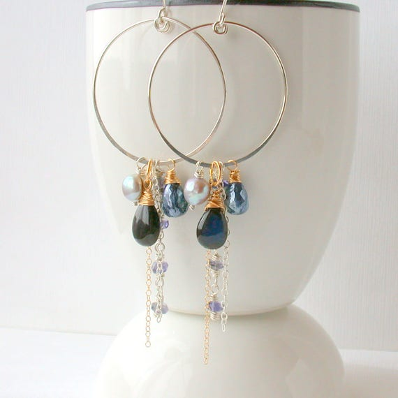 d4d3525cb72 Statement Earrings Gemstone Earrings Boho Earrings   Midnight